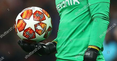 Roman Burki of Borussia Dortmund holds the new UEFA Adidas Champions League knockout phase match ball