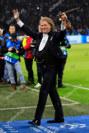 Andre Rieu applauds fans prior the first leg, round of sixteen, Champions League soccer match between Ajax and Real Madrid at the Johan Cruyff ArenA in Amsterdam, Netherlands