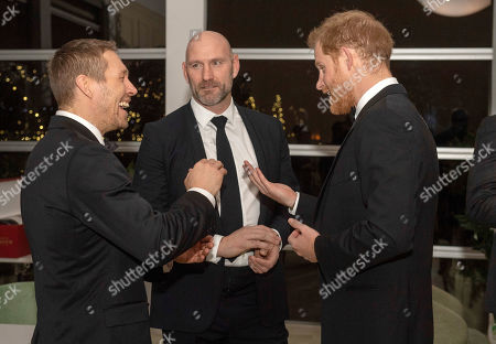 Prince Harry meeting Johnny Wilkinson and Lawrence Dallaglio