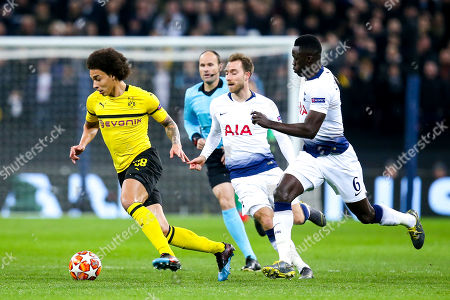 Axel Witsel of Borussia Dortmund goes past Davinson Sanchez and Christian Eriksen of Tottenham Hotspur
