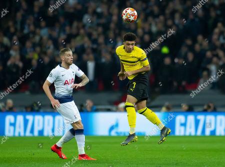 Jason Sancho of Borussia Dortmund clears the ball
