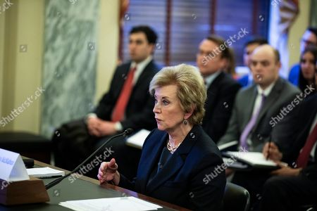 Linda McMahon, Administrator of the U.S. Small Business Administration testifies during a Senate Committee on Small Business and Entrepreneurship hearing on Capitol Hill