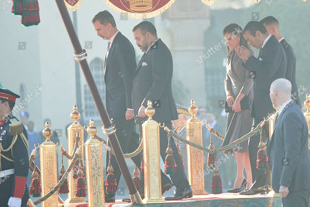 Stock Photo of Queen Letizia, King Felipe VI, Prince Moulay Rachid of Morocco El Alaoui of Morrocom, Prince Moulay Hassan