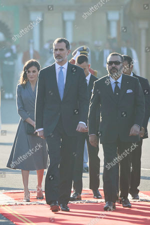 Stock Image of Queen Letizia, King Felipe VI, Prince Moulay Rachid of Morocco El Alaoui of Morrocom, Prince Moulay Hassan