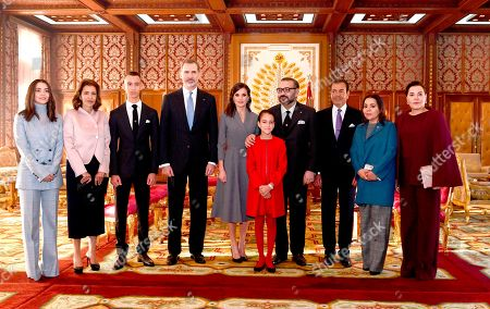 In this photo provided by the Moroccan Royal Palace via the Moroccan News Agency (MAP), from left to right : Princess Lalla Kaltoum, Princess Lalla Meryem, Crown Prince Moulay Hassan, King Don Felipe VI, of Spain, Queen Dona Letizia of Spain, Princess Lalla Khadija Morocco's king daughter, Mohammed VI, Prince Moulay Rachid, Princess Lalla Asmaa, and Princess Lalla Hasnaa, pose at the royal palace in Rabat