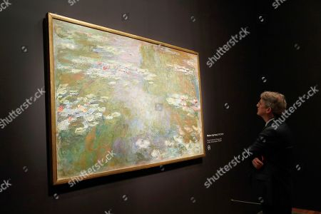 Thomas P. Campbell, Director and CEO, Fine Arts Museums of San Francisco views Monet's ,'Water-Lily Pond' 1917/1919 painting during the press preview of Monet: The Late Years exhibit at the de Young Museum in Golden Gate Park in San Francisco, California, USA, 13 February 2019.