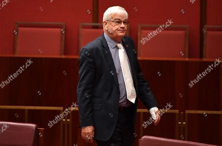 United Australia Party Senator Brian Burston with a bandaged left hand appears in the Senate chamber at Parliament House in Canberra, Australia, 14 February 2019. The United Australia Party Senator was allegedly involved in a physical altercation with James Ashby, his former party leaders adviser, in Parliament House on the 13 February.