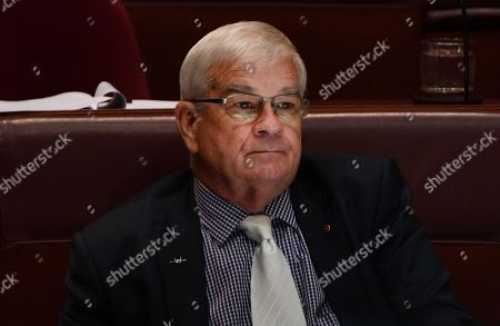 United Australia Party (UAP) Senator Brian Burston during Question Time in the Senate chamber at Parliament House in Canberra, Australian Capital Territory, Australia, 14 February 2019. UAP Senator Burston was allegedly involved in a physical altercation with James Ashby, his former party leader's adviser, in Parliament House on the 13 February, media reported.