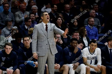 Villanova head coach Jay Wright in action during an NCAA college basketball game against Providence, in Villanova, Pa