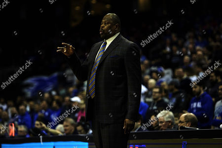 Newark, New Jersey, U.S. - Georgetown Hoyas head coach Patrick Ewing during a NCAA Men's game between the Seton Hall Pirates and the Georgetown Hoyas at the Prudential Center in Newark, New Jersey. Seton Hall defeated Georgetown 90-75