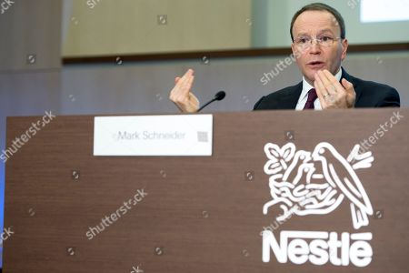 Nestle's CEO Ulf Mark Schneider speaks during the 2018 full-year results press conference of the food and drinks company Nestle, in Vevey, Switzerland, 14 February 2019.