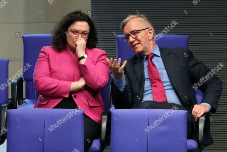 Social Democratic Party (SPD) chairwoman and faction chair in the German parliament Bundestag Andrea Nahles (L) listens to the co-leader of The Left (Die Linke) party faction, Dietmar Bartsch, in the German parliament Bundestag in Berlin, Germany, 14 February 2019. The German parliament Bundestag gathered for its 80 session of the 19th legislative period.