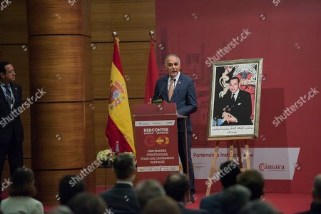 Salaheddine Mezouar, Morocco's former foreign minister and President of the General Confederation of Moroccan Enterprises (CGEM), speaks during the launch of the Morocco-Spain Economic Council, Rabat, Morocco, 14 February 2019. King Felipe VI of Spain is on a two-day official visit to Morocco.