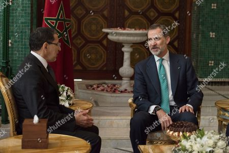 King Felipe VI (R) is welcomed by Prime Minister of Morocco Saadeddine Othmani (L) in Rabat, Morocco, 14 February 2019. King Felipe VI is on a two-days official visit to Morocco.