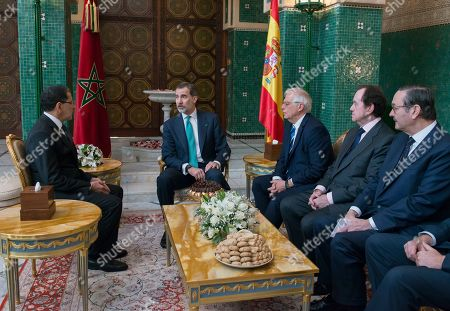 King Felipe VI (2-L) is welcomed by Prime Minister of Morocco Saadeddine Othmani (L) in Rabat, Morocco, 14 February 2019. King Felipe VI is on a two-days official visit to Morocco.