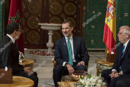King Felipe VI (C) and Spanish Foreign Minister Josep Borrell (R) are welcomed by Prime Minister of Morocco Saadeddine Othmani (L) in Rabat, Morocco, 14 February 2019. King Felipe VI is on a two-days official visit to Morocco.