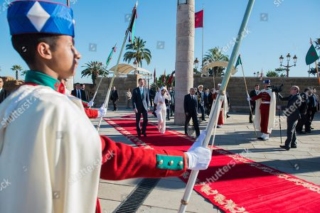 King Felipe VI (L) and and Queen Letizia arrive to visit the Mohamed V mausoleum in Rabat, Morocco, 14 February 2019. King Felipe VI is on a two-day official visit to Morocco.