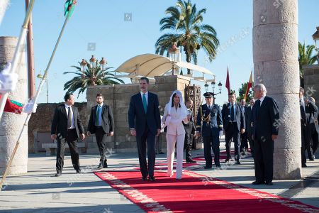 King Felipe VI (C-L) and and Queen Letizia (C-R) visit the Mohamed V mausoleum in Rabat, Morocco, 14 February 2019. King Felipe VI is on a two-day official visit to Morocco.
