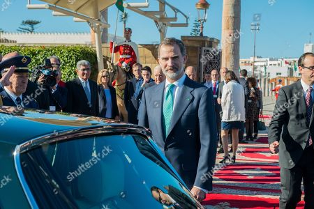 King Felipe VI (C) looks on duirng a visit at the Mohamed V mausoleum in Rabat, Morocco, 14 February 2019. King Felipe VI is on a two-day official visit to Morocco.