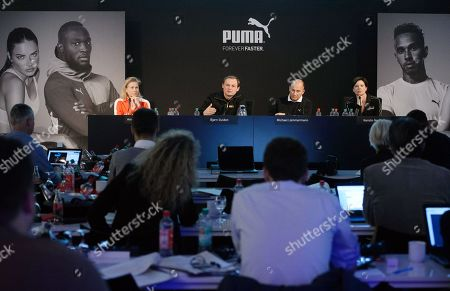 From L-R Anne-Laure Descours, CSO of Puma, Bjorn Gulden, CEO of Puma, Michael Lämmermann, CFO of Puma, and the company's speaker, Kerstin Neuber (L-R) are pictured during the annual earnings press conference in Herzogenaurach, Germany, 14 February 2019. The sporting goods manufacturer said they increased their sales in 2018 by 20.1 per cent to 1.226 million euros. The operating result (EBIT) is up to 38 million euros according to the management.