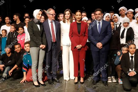 Queen Letizia (C)of Spain, Spanish Minister of Culture, Jose Guirao (C-L), and Princess Lalla Meryem (C-R), sister of King Mohammed VI of Morocco, visit the school 'Second Chance' in Rabat, Morocco, 14 February 2019. King Felipe VI of Spain is on a two-day official visit to Morocco.