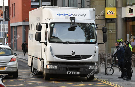 Editorial image of Prison Van Arrives At Manchester Crown Court.- Christopher Parker 'homeless Hero' Who Stole From Victims Of The Manchester Bombing Sentenced To Four Years And Three Months At Manchester Crown Court After Pleading Guilty To Two Counts Of Theft One C
