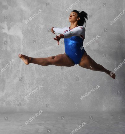 Stock Photo of Gymnast Ellie Downie Feature Shows Off Her Moves Before The UK World Cup In Birmingham.