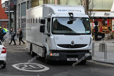 Prison Van Arrives At Manchester Crown Court.- Christopher Parker 'homeless Hero' Who Stole From Victims Of The Manchester Bombing Sentenced To Four Years And Three Months At Manchester Crown Court After Pleading Guilty To Two Counts Of Theft One Count Of Fraud And Breaching His Bail.