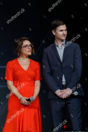 Co-directors Anna Boden (L) and Ryan Fleck (R) are seen on stage during a Captain Marvel fan event at the Marina Bay Sands Convention Centre in Singapore, 14 February 2019. Captain Marvel will open in cinemas on 07 March in Singapore and 08 March worldwide and is the latest addition to the Marvel Cinematic Universe franchise.