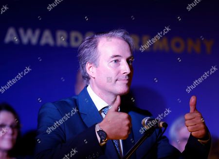 EU Ambassador to Myanmar Kristian Schmidt reacts as he gives a speech during 2019 Schuman Awards ceremony at the EU Ambassador residence in Yangon, Myanmar, 14 February 2019. The European Union in Myanmar gives the annual Schuman Awards to recognize outstanding merits in the promotion of universal values of democracy, rule of law, peace and human rights. Gender and peace activist Nang Pu from Kachin State, who currently in prison, peace advocate Aung Kyaw Moe and human rights defender Robert Sann Aung receive the 2019 Schuman Awards.