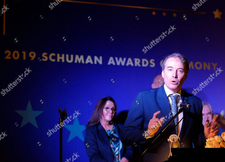 EU Ambassador to Myanmar Kristian Schmidt gives a speech during 2019 Schuman Awards ceremony at the EU Ambassador residence in Yangon, Myanmar, 14 February 2019. The European Union in Myanmar gives the annual Schuman Awards to recognize outstanding merits in the promotion of universal values of democracy, rule of law, peace and human rights. Gender and peace activist Nang Pu from Kachin State, who currently in prison, peace advocate Aung Kyaw Moe and human rights defender Robert Sann Aung receive the 2019 Schuman Awards.