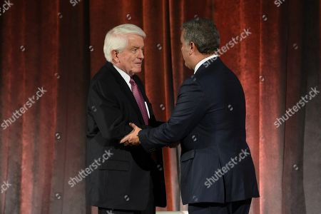 U.S. Chamber of Commerce President and CEO Thomas Donohue, left, interacts with Colombian President Ivan Duque Marquez at the U.S. Chamber of Commerce in Washington, on