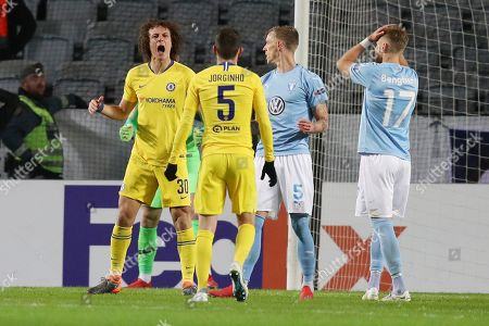 David Luiz of Chelsea celebrates after heading a shot from Arnor Ingvi Traustason of Malmo FF past the post