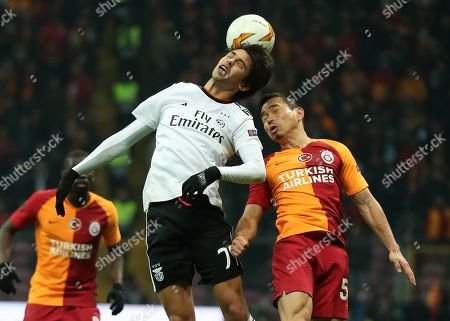 Galatasaray's Yuto Nagatomo (R) in action against Benfica's Joao Felix (L) during the UEFA Europe League round of 32 first leg soccer match between Galatasaray and Benfica at the Turk Telekom Arena in Istanbul, Turkey, 14 February 2019.
