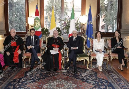 (L-R) President of the CEI Cardinal Gualtiero Bassetti, Italian Prime Minister Giuseppe Conte, Vatican Secretary of State Cardinal Pietro Parolin, President of the Italian Republic Sergio Mattarella, President of the Senate Maria Elisabetta Alberti Casellati and the Vice President of the Chamber of Deputies, Mara Carfagna, during the ceremony for the 90th anniversary of the Lateran Pacts and the thirty-fifth anniversary of the Amendment Agreement, in Rome, Italy, 14 February 2019. The Lateran Pact of 1929, or Lateran Treaty, between Italy and the Vatican was signed by Benito Mussolini for the Italian government and by cardinal secretary of state Pietro Gasparri for the papacy. The papacy recognized the state of Italy, with Rome as its capital, Italy in return recognized papal sovereignty over the Vatican City and secured full independence for the pope.