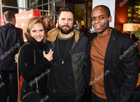 """Psych"""" stars, Maggie Lawson and James Roday pose with Dulé Hill at the opening night party for the West Coast premiere of Lights Out: Nat """"King"""" Cole at Geffen Playhouse, in Los Angeles. Dulé portrays Mr. Cole in the production"""