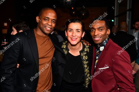"From left, Dulé Hill, Director/Co-writer Patricia McGregor and Daniel J. Watts pose at the opening night party for the West Coast premiere of Lights Out: Nat ""King"" Cole at Geffen Playhouse, in Los Angeles. Dulé portrays Mr. Cole and Daniel portrays Sammy Davis Jr. in the production"