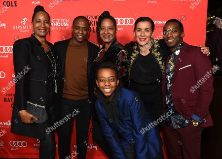 "From left, Nat King Cole's daughter Timolin Cole, Dulé Hill, Nat King Cole's daughter Casey Cole, Director/Co-writer Patricia McGregor, Daniel J. Watts and Connor Amacio Matthews, front, pose at the opening night party for the West Coast premiere of Lights Out: Nat ""King"" Cole at Geffen Playhouse, in Los Angeles. Dulé portrays Mr. Cole, Daniel portrays Sammy Davis Jr. and Connor portrays Billy Preston in the production"