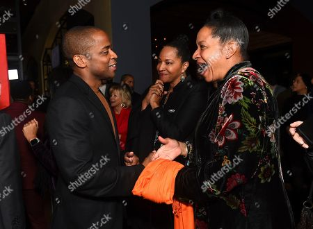 """Dulé with Nat King Cole's daughters Timolin Cole and Casey Cole at the opening night party for the West Coast premiere of Lights Out: Nat """"King"""" Cole at Geffen Playhouse, in Los Angeles. Dulé portrays Mr. Cole in the production"""