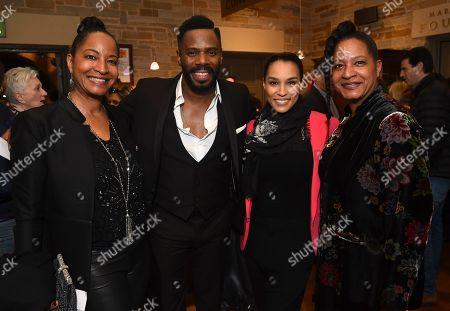 """From left, Nat King Cole's daughters Timolin Cole, Co-writer Colman Domingo, Donna Summer's daughter Brooklyn Sudano and Nat King Cole's daughter Casey Cole pose at the opening night party for the West Coast premiere of Lights Out: Nat """"King"""" Cole at Geffen Playhouse, in Los Angeles"""