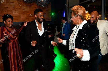 "Stock Image of Sharon Washington, Co-writer Colman Domingo and guests dance at the opening night party for the West Coast premiere of Lights Out: Nat ""King"" Cole at Geffen Playhouse, in Los Angeles"