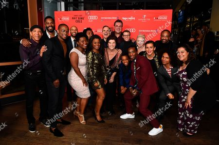 """The cast and crew of Lights Out: Nat """"King"""" Cole poses at the opening night party for the West Coast premiere of Lights Out: Nat """"King"""" Cole at Geffen Playhouse, in Los Angeles"""