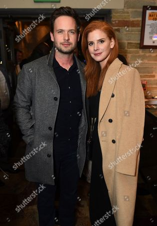 """Dulé Hill's """"Suits"""" co-stars, Patrick Adams and Sarah Rafferty pose at the opening night party for the West Coast premiere of Lights Out: Nat """"King"""" Cole at Geffen Playhouse, in Los Angeles. Dulé portrays Mr. Cole in the production"""