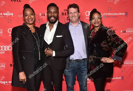 """From left, Nat King Cole's daughter Timolin Cole, Co-writer Colman Domingo, Geffen Playhouse Executive Director Gil Cates Jr. and Nat King Cole's daughter Casey Cole pose at the opening night party for the West Coast premiere of Lights Out: Nat """"King"""" Cole at Geffen Playhouse, in Los Angeles"""