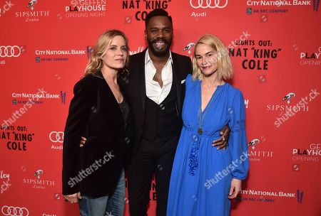 "Kim Dickens, from left, Co-writer Colman Domingo and Leisha Haley pose at the opening night party for the West Coast premiere of Lights Out: Nat ""King"" Cole at Geffen Playhouse, in Los Angeles"