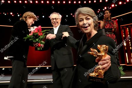 Charlotte Rampling (R) with Festival Director Dieter Kosslick (C) and Italian director Liliana Cavani, receives the Honorary Golden Bear during the 69th annual Berlin International Film Festival in Berlin, Germany, 14 February 2019. The Berlinale runs from 07 to 17 February.