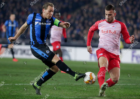 Ruud Vormer of Club Brugge KV (L) and Marin Pongracic of FC Salzburg  in action during an UEFA Europa League soccer match, round 32, between Club Brugge KV and FC Salzburg at the Jan Breydel Stadium in Bruges, Belgium, 14 February 2019.