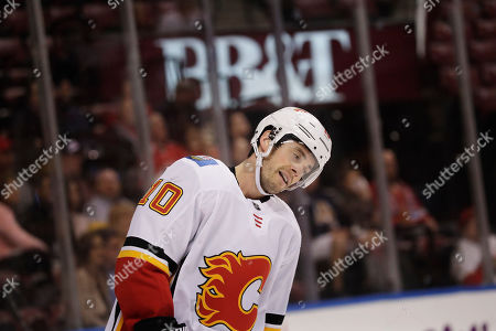 Nick Bjugstad, Derek Ryan. Calgary Flames center Derek Ryan reacts after missing a shot during the first period of the team's NHL hockey game against the Florida Panthers, in Sunrise, Fla