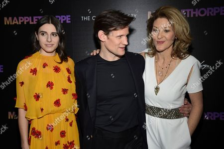 """Matt Smith, Marianne Rendon, Ondi Timoner. Actors Marianne Rendon, left, and Matt Smith pose with director Ondi Timoner at a special screening of """"Mapplethorpe"""", hosted by The Cinema Society, at Cinepolis Chelsea, in New York"""