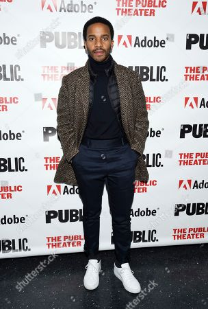 """Stock Image of Andre Holland attends the """"Sea Wall / A Life"""" opening night at The Public Theater, in New York"""